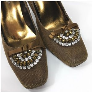 Pierre Dumas Bronze Sparkle Pumps with Rhinestones